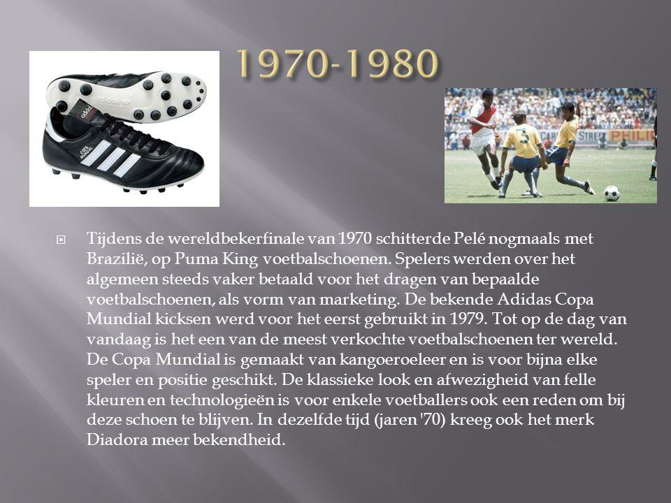  Tijdens de wereldbekerfinale van 1970 schitterde Pelé nogmaals met Brazilië, op Puma King voetbalschoenen. Spelers werden over het algemeen steeds v