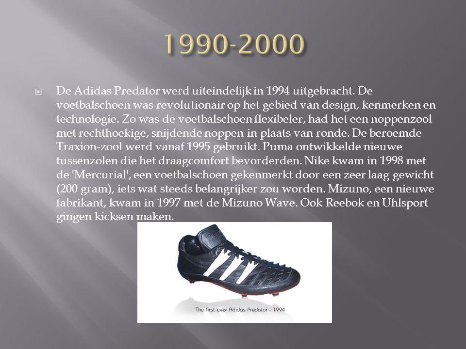  De Adidas Predator werd uiteindelijk in 1994 uitgebracht. De voetbalschoen was revolutionair op het gebied van design, kenmerken en technologie. Zo