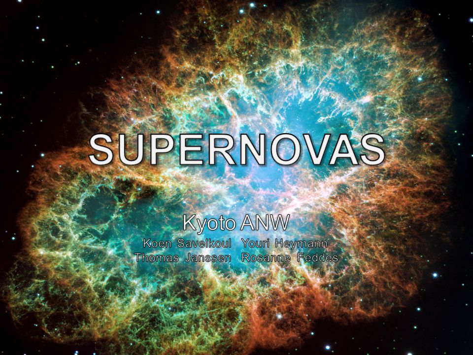 Inhoud Introductie Thema & vragen Probleemstelling De bron De supernova De restanten Vorming van elementen Straling uit supernova's Röntgenstraling Chandra X-ray telescope Gammastraling Fermi Gamma-ray telescope Fritz Zwicky Bronnenboom & APA-verwerking Onderzoeksvraag & hypothese Afsluiting