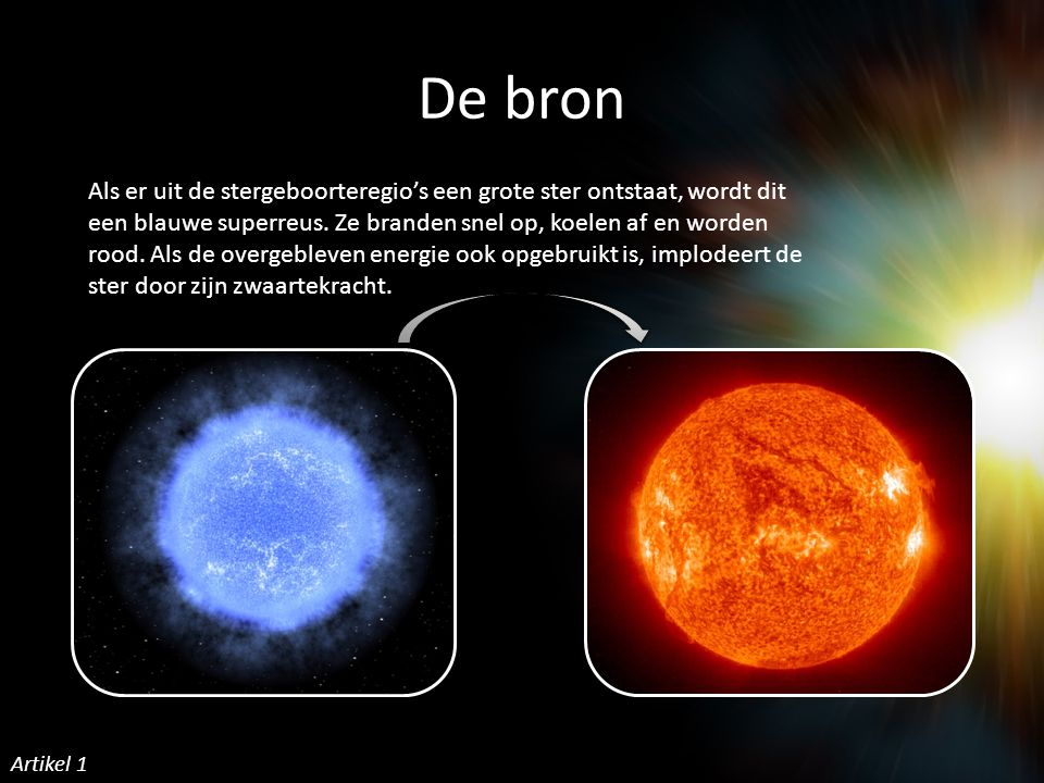 De bron Als er uit de stergeboorteregio's een grote ster ontstaat, wordt dit een blauwe superreus.