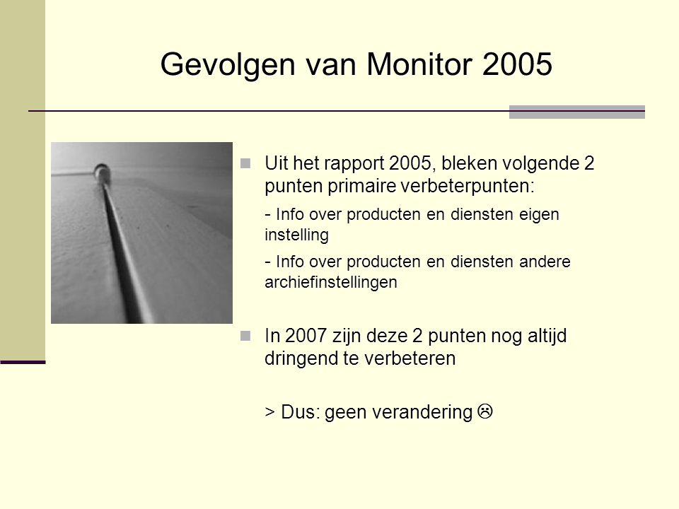 Gevolgen van Monitor 2005 Uit het rapport 2005, bleken volgende 2 punten primaire verbeterpunten: Uit het rapport 2005, bleken volgende 2 punten prima
