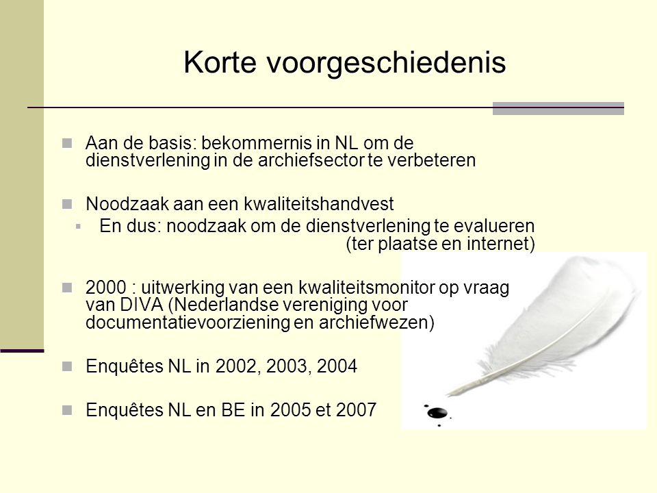 Korte voorgeschiedenis Aan de basis: bekommernis in NL om de dienstverlening in de archiefsector te verbeteren Aan de basis: bekommernis in NL om de dienstverlening in de archiefsector te verbeteren Noodzaak aan een kwaliteitshandvest Noodzaak aan een kwaliteitshandvest  En dus: noodzaak om de dienstverlening te evalueren (ter plaatse en internet) 2000 : uitwerking van een kwaliteitsmonitor op vraag van DIVA (Nederlandse vereniging voor documentatievoorziening en archiefwezen) 2000 : uitwerking van een kwaliteitsmonitor op vraag van DIVA (Nederlandse vereniging voor documentatievoorziening en archiefwezen) Enquêtes NL in 2002, 2003, 2004 Enquêtes NL in 2002, 2003, 2004 Enquêtes NL en BE in 2005 et 2007 Enquêtes NL en BE in 2005 et 2007