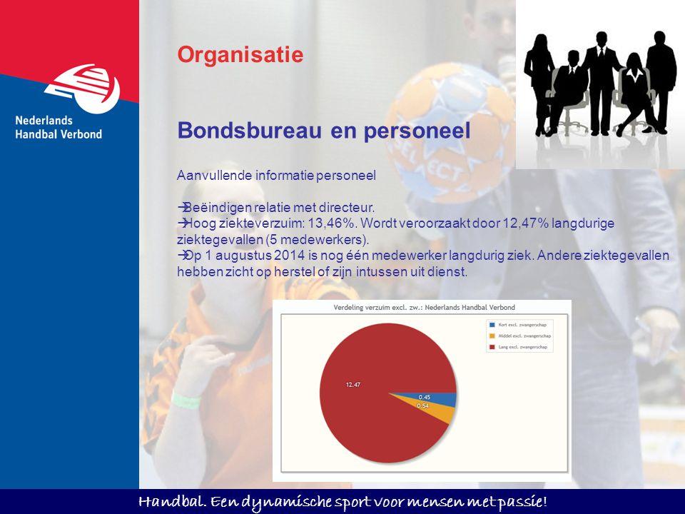 Handbal. Een dynamische sport voor mensen met passie! Aanvullende informatie personeel  Beëindigen relatie met directeur.  Hoog ziekteverzuim: 13,46