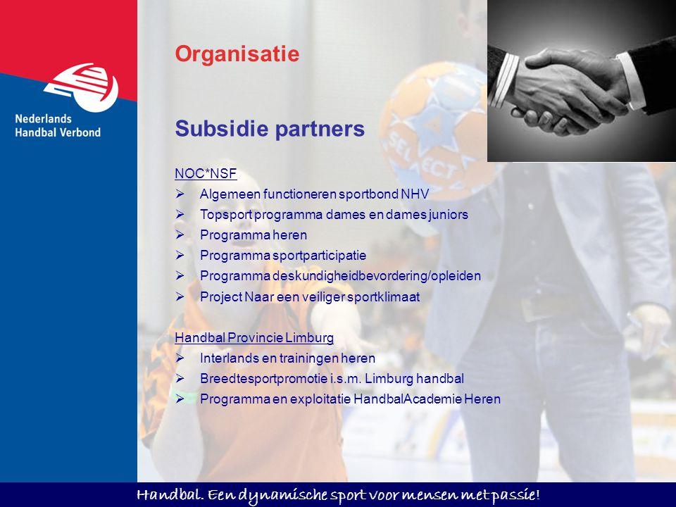 Handbal. Een dynamische sport voor mensen met passie! Subsidie partners NOC*NSF  Algemeen functioneren sportbond NHV  Topsport programma dames en da