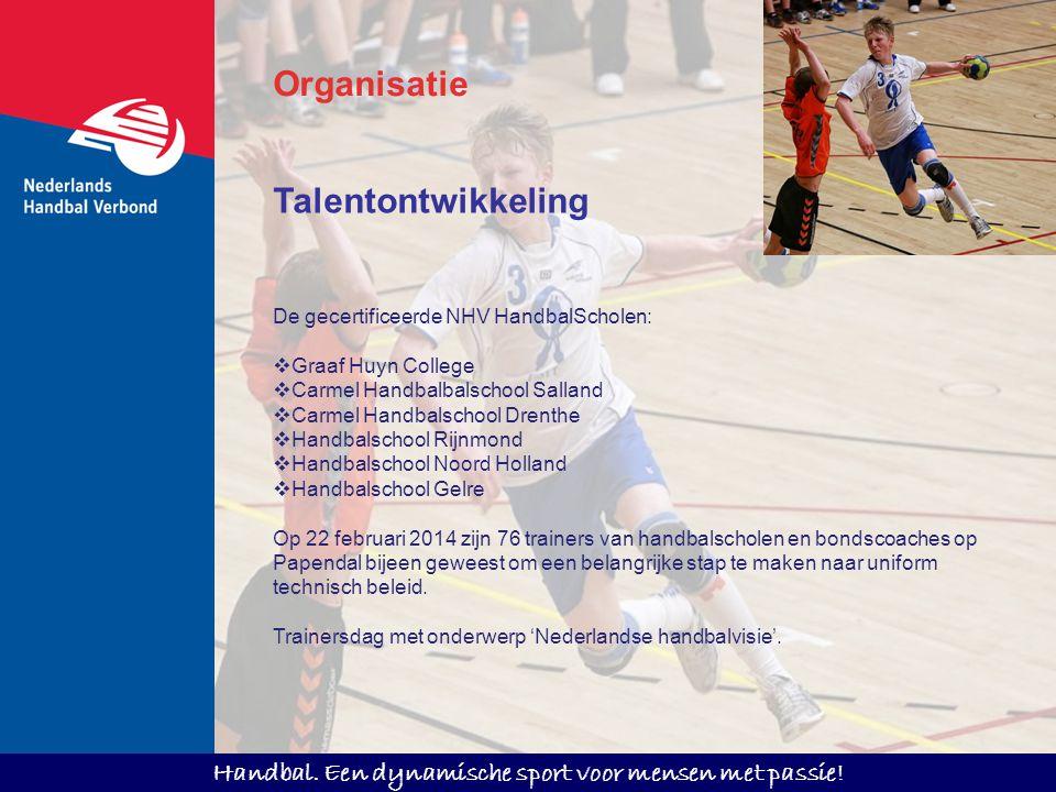 Handbal. Een dynamische sport voor mensen met passie! Talentontwikkeling De gecertificeerde NHV HandbalScholen:  Graaf Huyn College  Carmel Handbalb