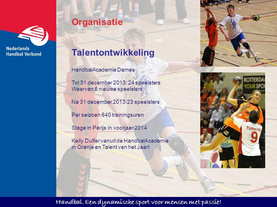 Handbal. Een dynamische sport voor mensen met passie! Talentontwikkeling HandbalAcademie Dames Tot 31 december 2013: 24 speelsters Waarvan 6 nieuwe sp