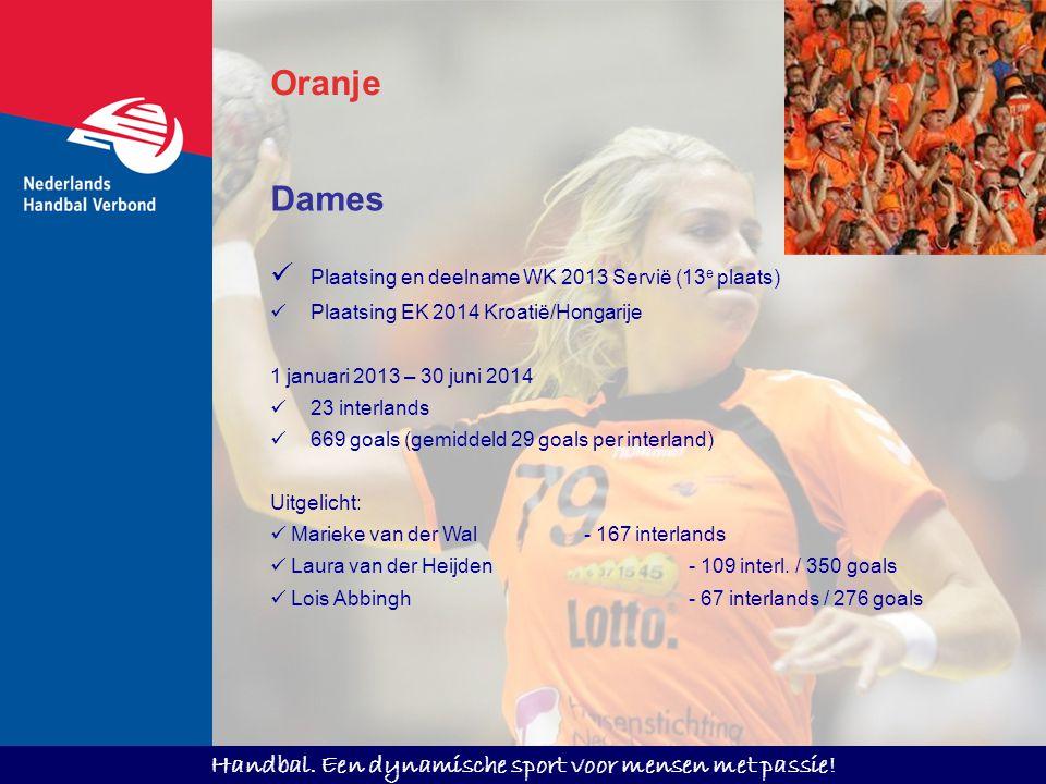 Handbal. Een dynamische sport voor mensen met passie! Oranje Dames Plaatsing en deelname WK 2013 Servië (13 e plaats) Plaatsing EK 2014 Kroatië/Hongar