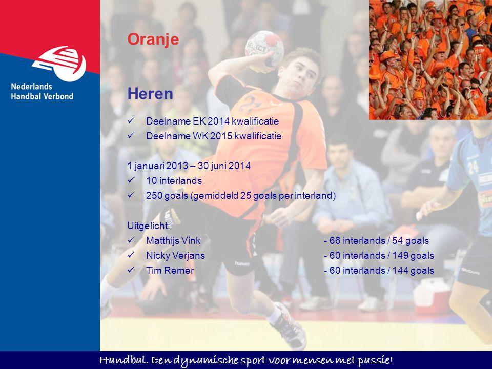 Handbal. Een dynamische sport voor mensen met passie! Oranje Heren Deelname EK 2014 kwalificatie Deelname WK 2015 kwalificatie 1 januari 2013 – 30 jun