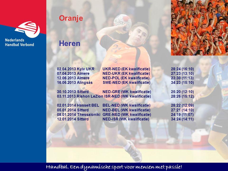 Handbal. Een dynamische sport voor mensen met passie! Oranje Heren 02.04.2013 Kyiv UKRUKR-NED (EK kwalificatie)28:24 (16:10) 07.04.2013 Almere NED-UKR