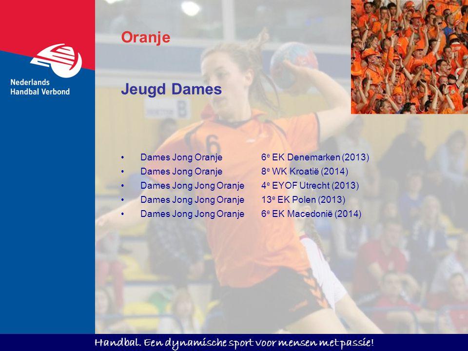 Handbal. Een dynamische sport voor mensen met passie! Oranje Jeugd Dames Dames Jong Oranje 6 e EK Denemarken (2013) Dames Jong Oranje 8 e WK Kroatië (