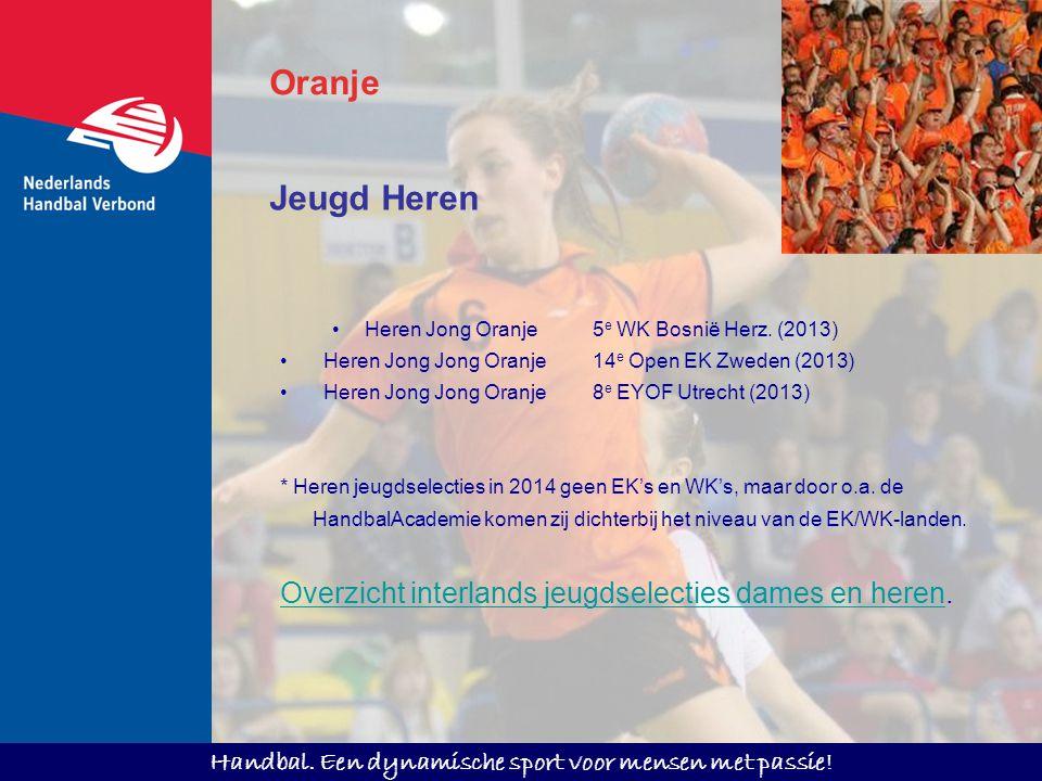Handbal. Een dynamische sport voor mensen met passie! Oranje Jeugd Heren Heren Jong Oranje5 e WK Bosnië Herz. (2013) Heren Jong Jong Oranje14 e Open E