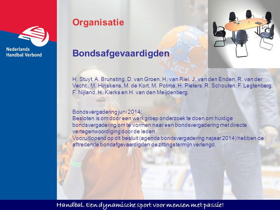 Handbal. Een dynamische sport voor mensen met passie! Bondsafgevaardigden H. Stuyt, A. Brunsting, D. van Groen, H. van Riel, J. van den Enden, R. van