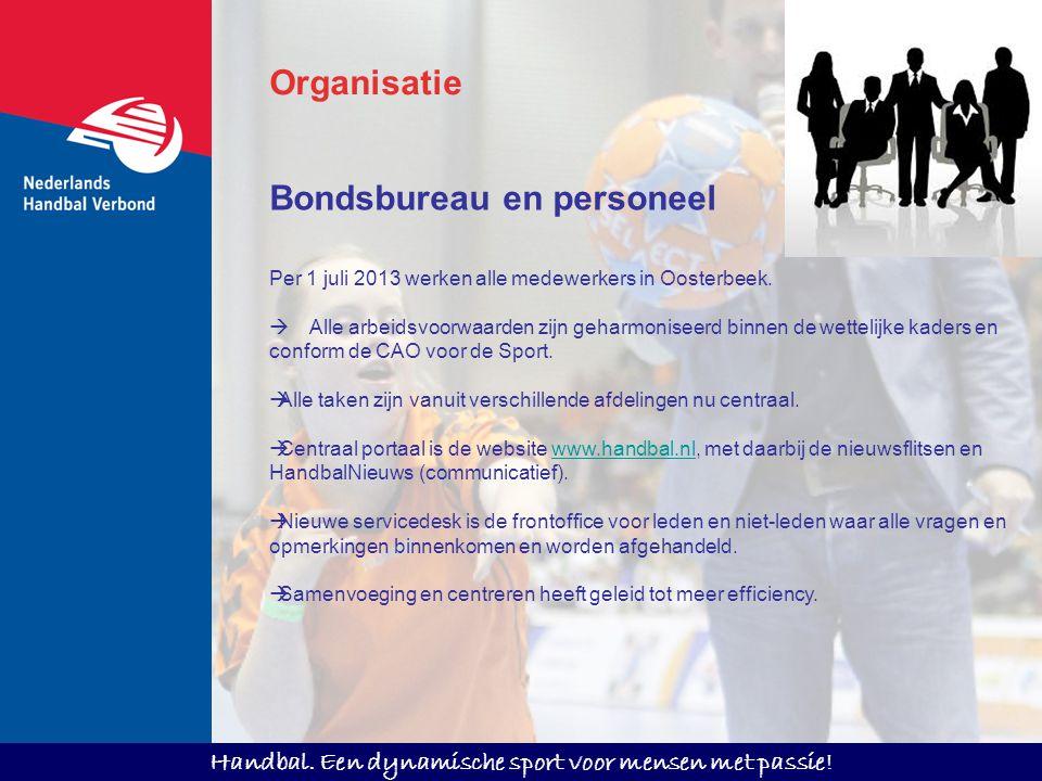 Handbal. Een dynamische sport voor mensen met passie! Bondsbureau en personeel Per 1 juli 2013 werken alle medewerkers in Oosterbeek.  Alle arbeidsvo