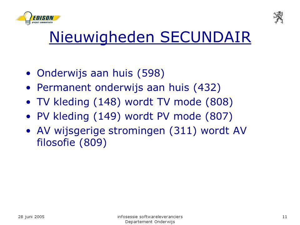 28 juni 2005infosessie softwareleveranciers Departement Onderwijs 11 Nieuwigheden SECUNDAIR Onderwijs aan huis (598) Permanent onderwijs aan huis (432