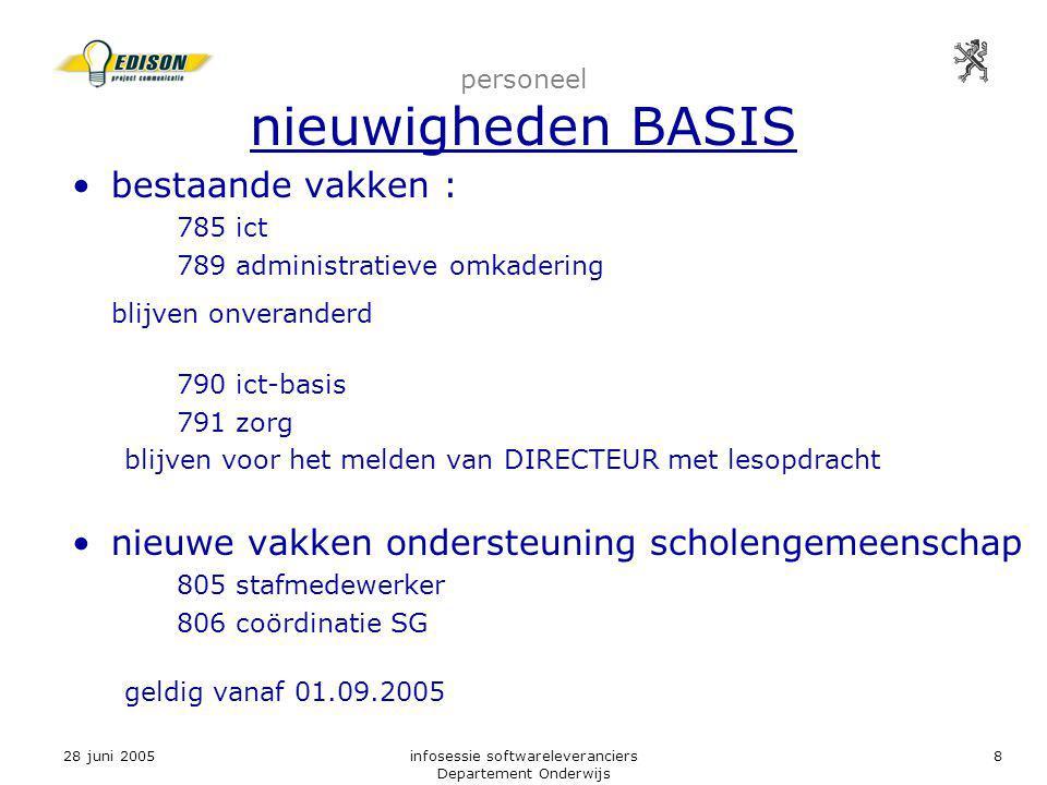 28 juni 2005infosessie softwareleveranciers Departement Onderwijs 8 personeel nieuwigheden BASIS bestaande vakken : 785 ict 789 administratieve omkade