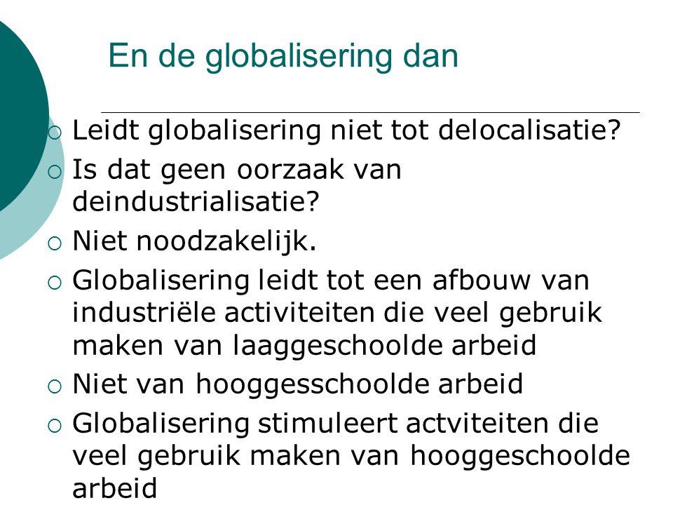 En de globalisering dan  Leidt globalisering niet tot delocalisatie.