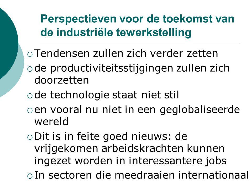 Perspectieven voor de toekomst van de industriële tewerkstelling  Tendensen zullen zich verder zetten  de productiviteitsstijgingen zullen zich doorzetten  de technologie staat niet stil  en vooral nu niet in een geglobaliseerde wereld  Dit is in feite goed nieuws: de vrijgekomen arbeidskrachten kunnen ingezet worden in interessantere jobs  In sectoren die meedraaien internationaal
