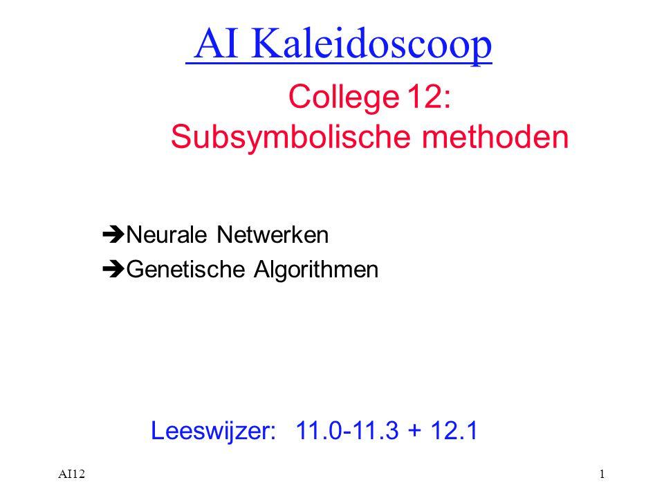AI121  Neurale Netwerken  Genetische Algorithmen Leeswijzer: 11.0-11.3 + 12.1 AI Kaleidoscoop College 12: Subsymbolische methoden
