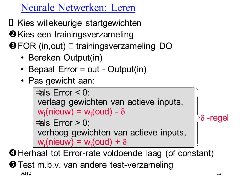 AI1212  Kies willekeurige startgewichten  Kies een trainingsverzameling  FOR (in,out)  trainingsverzameling DO Bereken Output(in) Bepaal Error = o