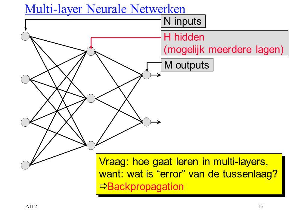 """AI1217 Multi-layer Neurale Netwerken N inputsM outputsH hidden (mogelijk meerdere lagen) Vraag: hoe gaat leren in multi-layers, want: wat is """"error"""" v"""
