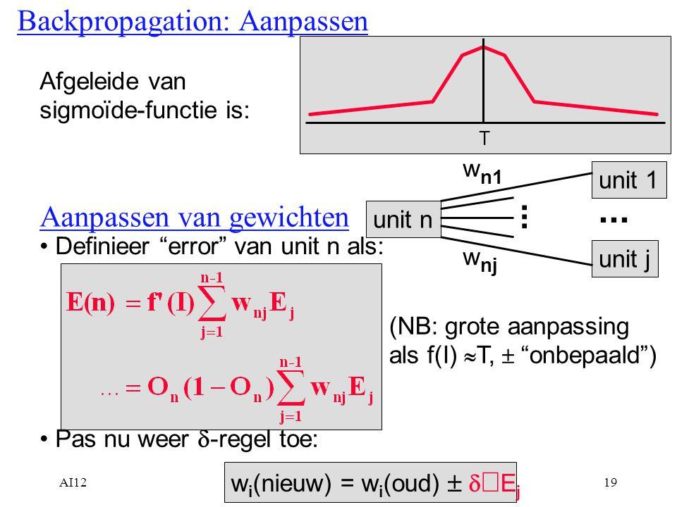 """AI1219 Backpropagation: Aanpassen Afgeleide van sigmoïde-functie is: T Aanpassen van gewichten unit n w n1 w nj unit 1 unit j... Definieer """"error"""" van"""