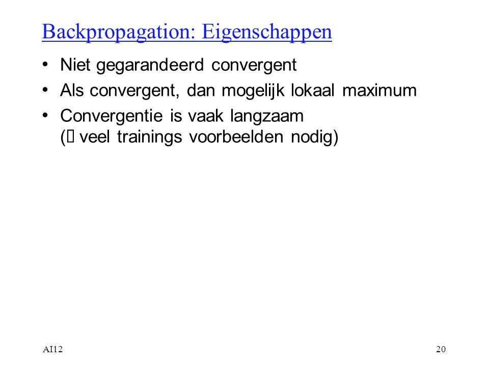 AI1220 Backpropagation: Eigenschappen Niet gegarandeerd convergent Als convergent, dan mogelijk lokaal maximum Convergentie is vaak langzaam (  veel