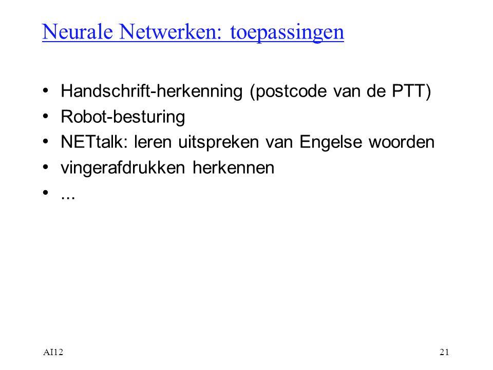 AI1221 Neurale Netwerken: toepassingen Handschrift-herkenning (postcode van de PTT) Robot-besturing NETtalk: leren uitspreken van Engelse woorden ving