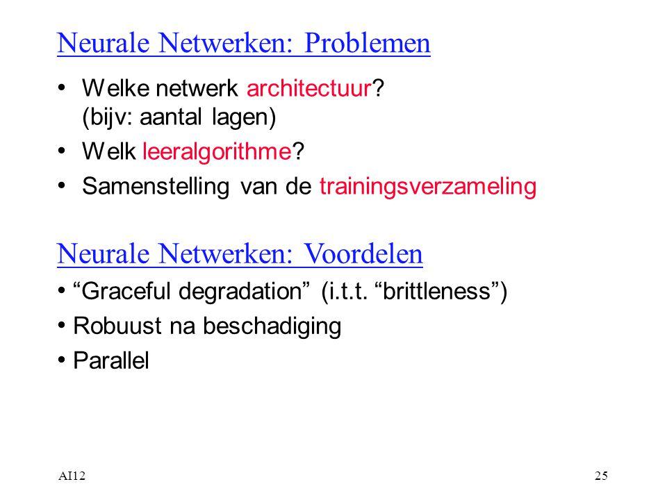 AI1225 Neurale Netwerken: Problemen Welke netwerk architectuur? (bijv: aantal lagen) Welk leeralgorithme? Samenstelling van de trainingsverzameling Ne