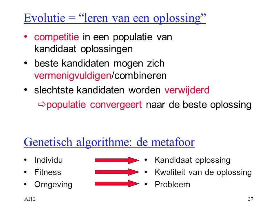 """AI1227 Evolutie = """"leren van een oplossing"""" competitie in een populatie van kandidaat oplossingen beste kandidaten mogen zich vermenigvuldigen/combine"""