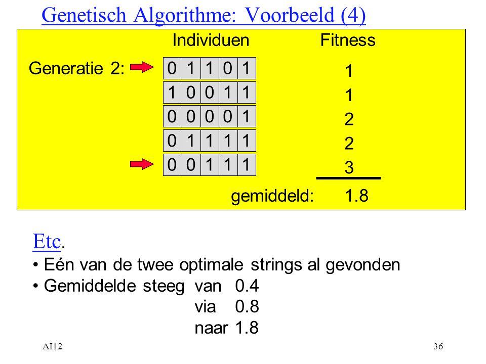 AI1236 Genetisch Algorithme: Voorbeeld (4) Generatie 2: 001110001011110 IndividuenFitness 1 2 2 11010 1 01110 3 gemiddeld:1.8 Etc. Eén van de twee opt