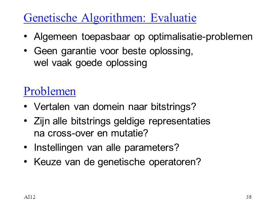 AI1238 Genetische Algorithmen: Evaluatie Algemeen toepasbaar op optimalisatie-problemen Geen garantie voor beste oplossing, wel vaak goede oplossing P