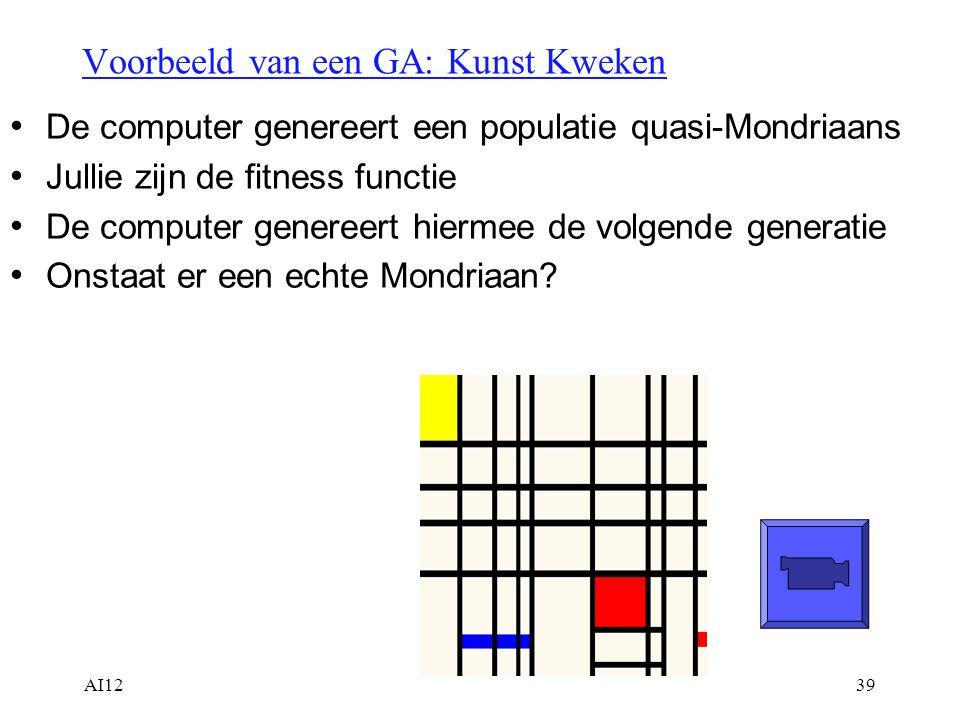AI1239 Voorbeeld van een GA: Kunst Kweken De computer genereert een populatie quasi-Mondriaans Jullie zijn de fitness functie De computer genereert hi