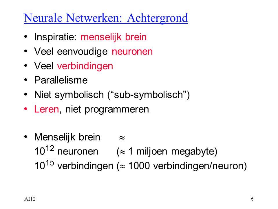 """AI126 Neurale Netwerken: Achtergrond Inspiratie: menselijk brein Veel eenvoudige neuronen Veel verbindingen Parallelisme Niet symbolisch (""""sub-symboli"""