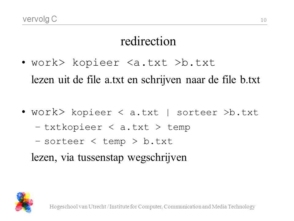 vervolg C Hogeschool van Utrecht / Institute for Computer, Communication and Media Technology 10 redirection work> kopieer b.txt lezen uit de file a.t