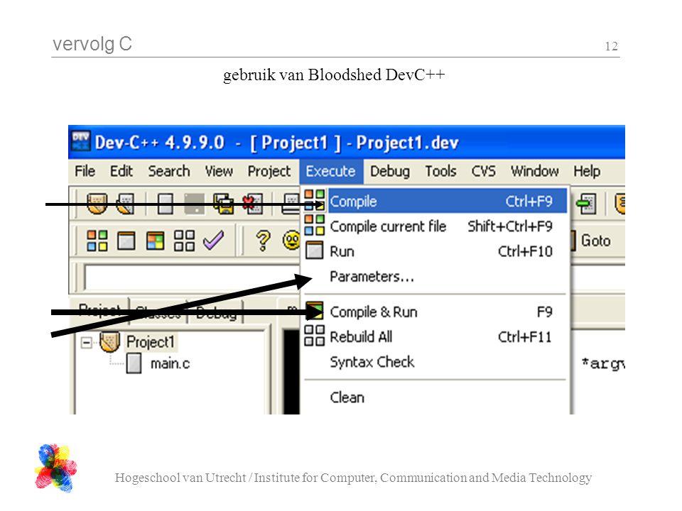 vervolg C Hogeschool van Utrecht / Institute for Computer, Communication and Media Technology 12 gebruik van Bloodshed DevC++