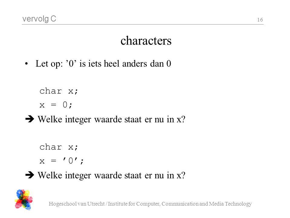 vervolg C Hogeschool van Utrecht / Institute for Computer, Communication and Media Technology 16 characters Let op: '0' is iets heel anders dan 0 char