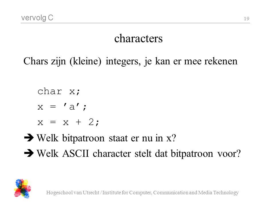 vervolg C Hogeschool van Utrecht / Institute for Computer, Communication and Media Technology 19 characters Chars zijn (kleine) integers, je kan er me