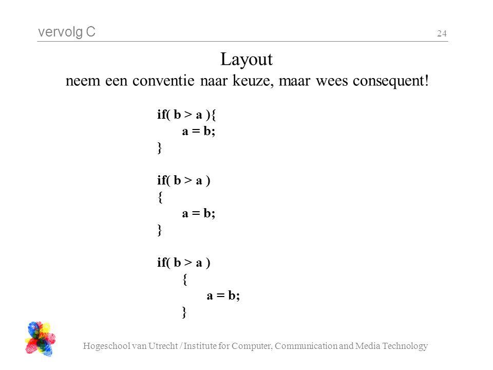 vervolg C Hogeschool van Utrecht / Institute for Computer, Communication and Media Technology 24 Layout neem een conventie naar keuze, maar wees conse