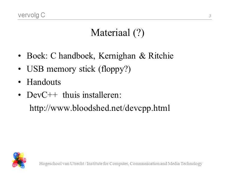 vervolg C Hogeschool van Utrecht / Institute for Computer, Communication and Media Technology 3 Materiaal (?) Boek: C handboek, Kernighan & Ritchie US