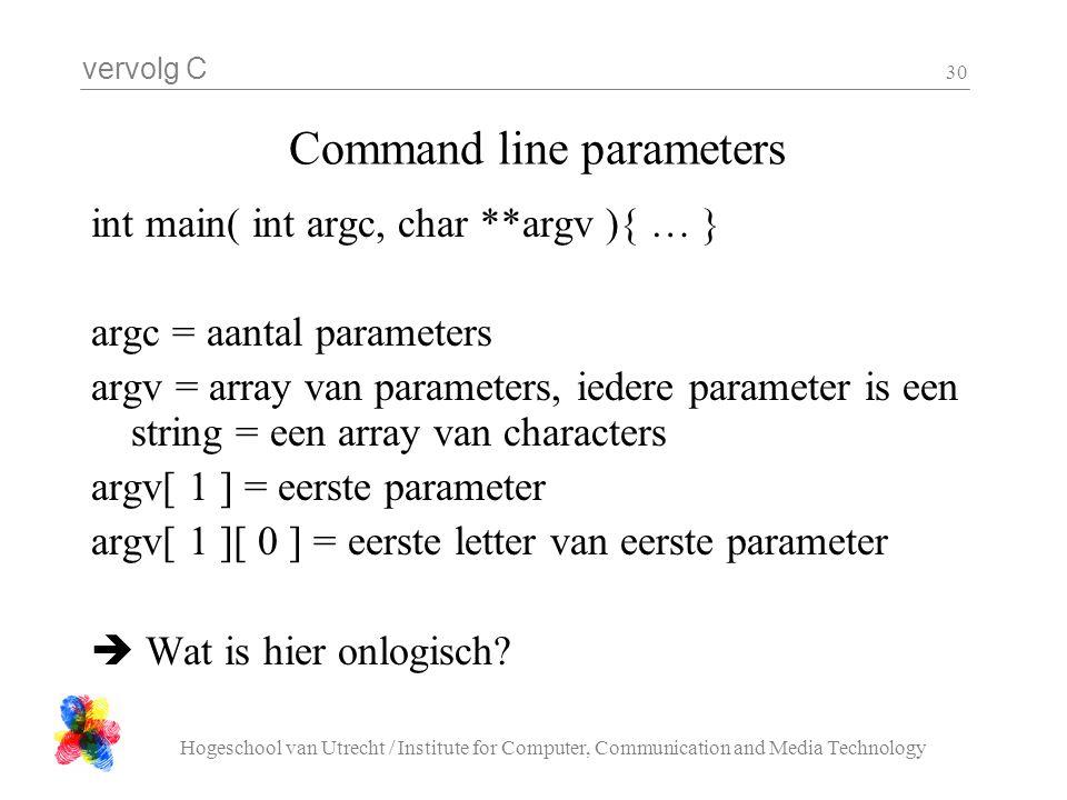 vervolg C Hogeschool van Utrecht / Institute for Computer, Communication and Media Technology 30 Command line parameters int main( int argc, char **ar