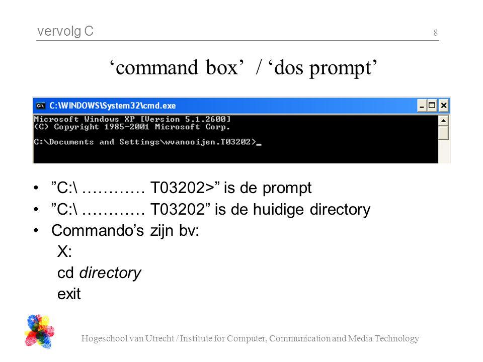 """vervolg C Hogeschool van Utrecht / Institute for Computer, Communication and Media Technology 8 'command box' / 'dos prompt' """"C:\ ………… T03202>"""" is de"""