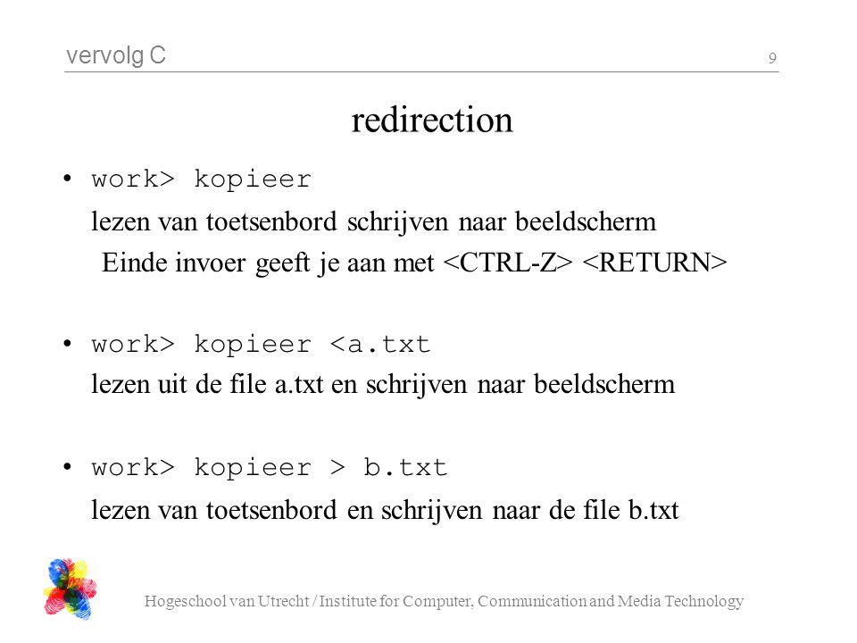 vervolg C Hogeschool van Utrecht / Institute for Computer, Communication and Media Technology 9 redirection work> kopieer lezen van toetsenbord schrij