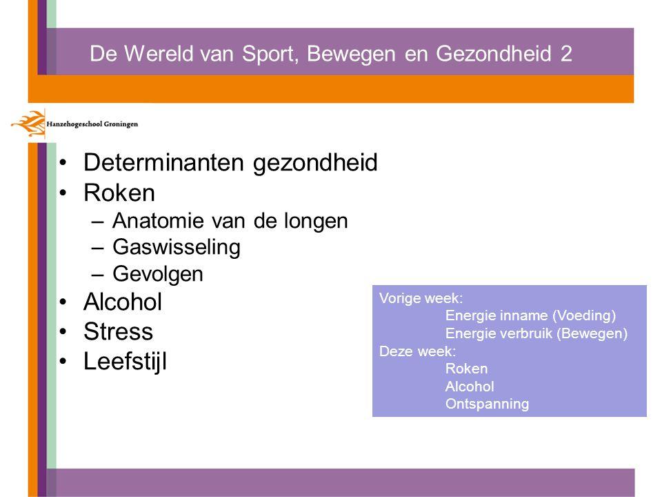 De Wereld van Sport, Bewegen en Gezondheid 2 Determinanten gezondheid Roken –Anatomie van de longen –Gaswisseling –Gevolgen Alcohol Stress Leefstijl V