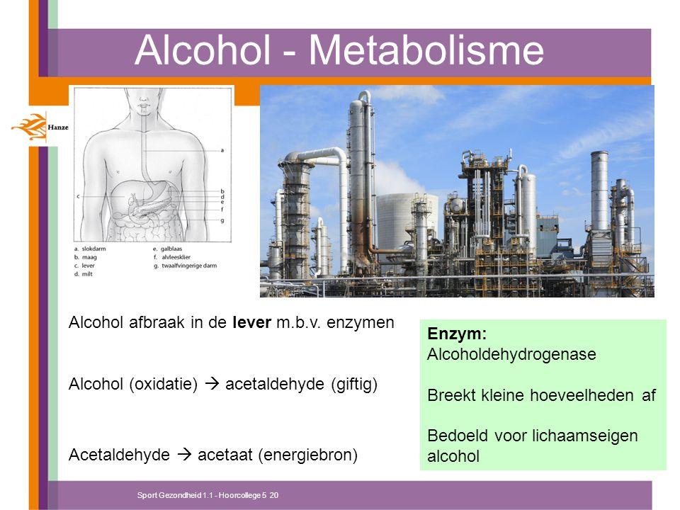Sport Gezondheid 1.1 - Hoorcollege 5 20 Alcohol - Metabolisme Alcohol afbraak in de lever m.b.v. enzymen Alcohol (oxidatie)  acetaldehyde (giftig) Ac