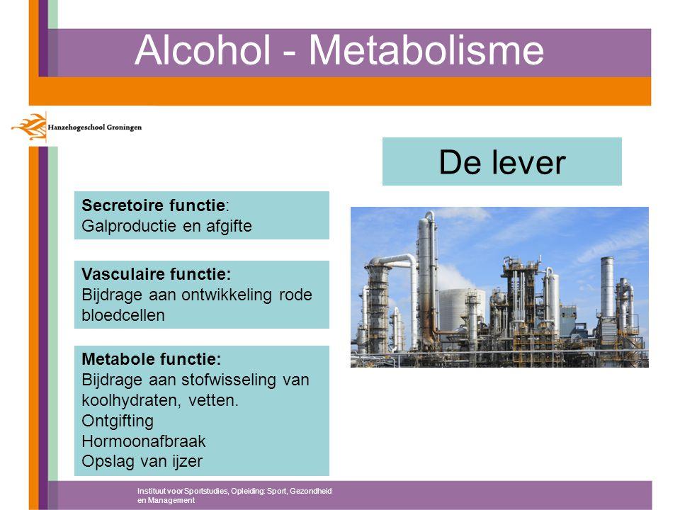 Alcohol - Metabolisme Instituut voor Sportstudies, Opleiding: Sport, Gezondheid en Management De lever Metabole functie: Bijdrage aan stofwisseling va