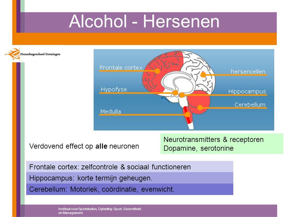 Alcohol - Hersenen Instituut voor Sportstudies, Opleiding: Sport, Gezondheid en Management Neurotransmitters & receptoren Dopamine, serotonine Verdove