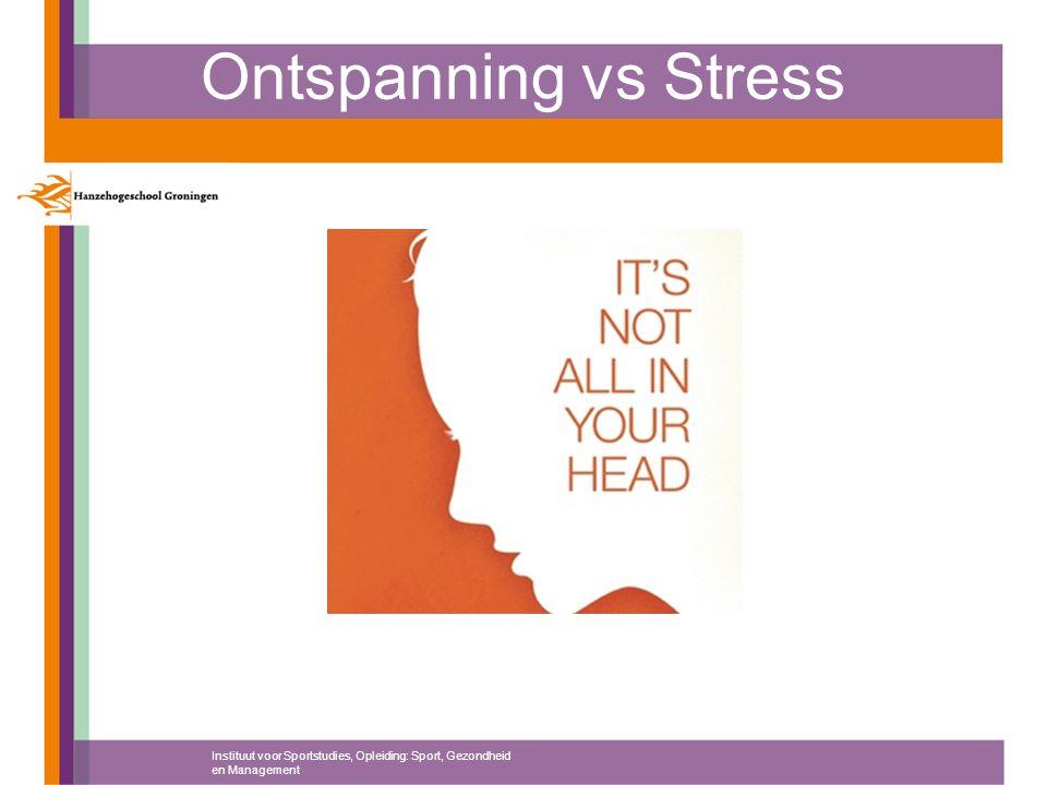 Ontspanning vs Stress Instituut voor Sportstudies, Opleiding: Sport, Gezondheid en Management