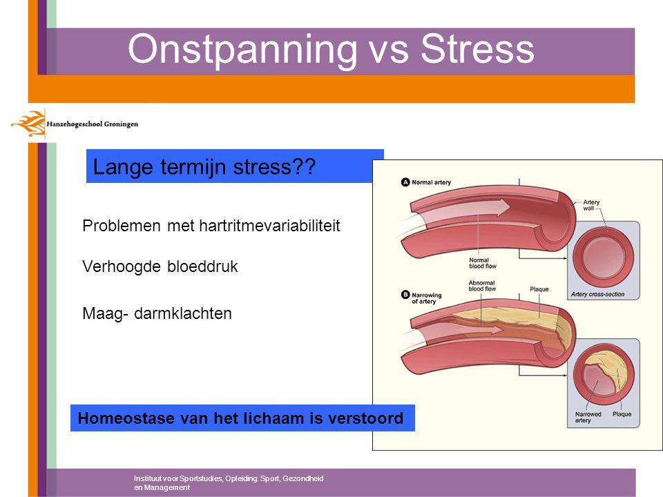 Onstpanning vs Stress Instituut voor Sportstudies, Opleiding: Sport, Gezondheid en Management Lange termijn stress?? Problemen met hartritmevariabilit