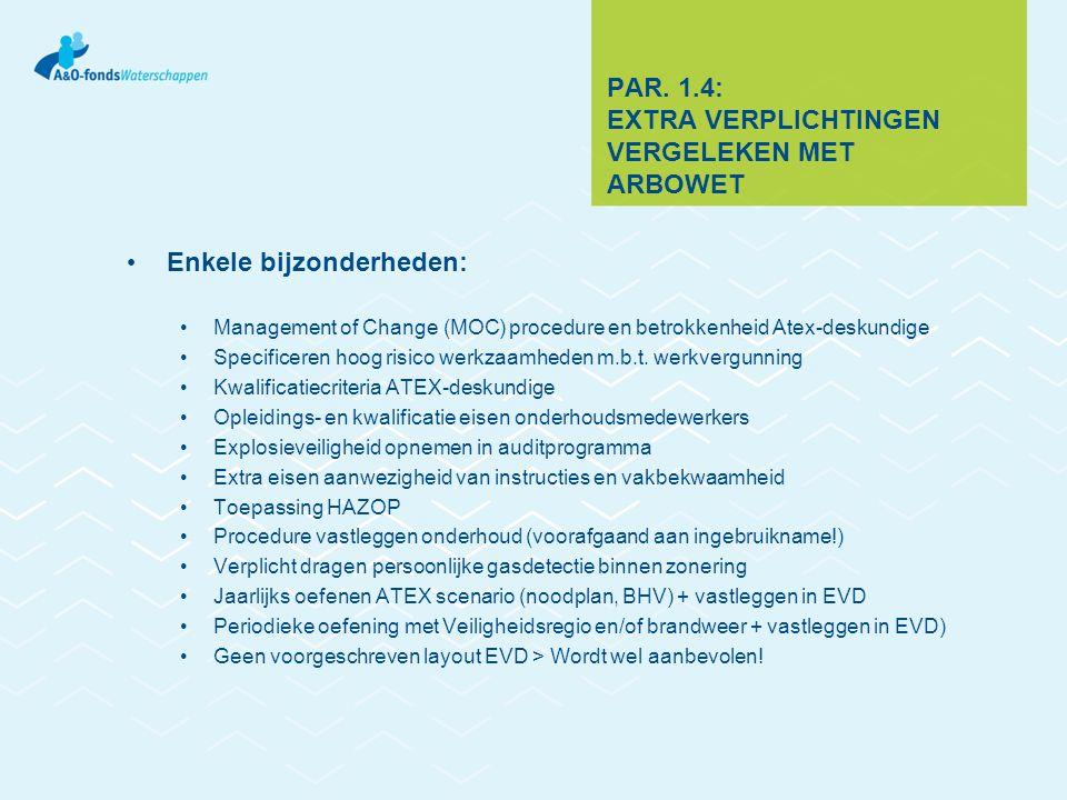 PAR. 1.4: EXTRA VERPLICHTINGEN VERGELEKEN MET ARBOWET Enkele bijzonderheden: Management of Change (MOC) procedure en betrokkenheid Atex-deskundige Spe
