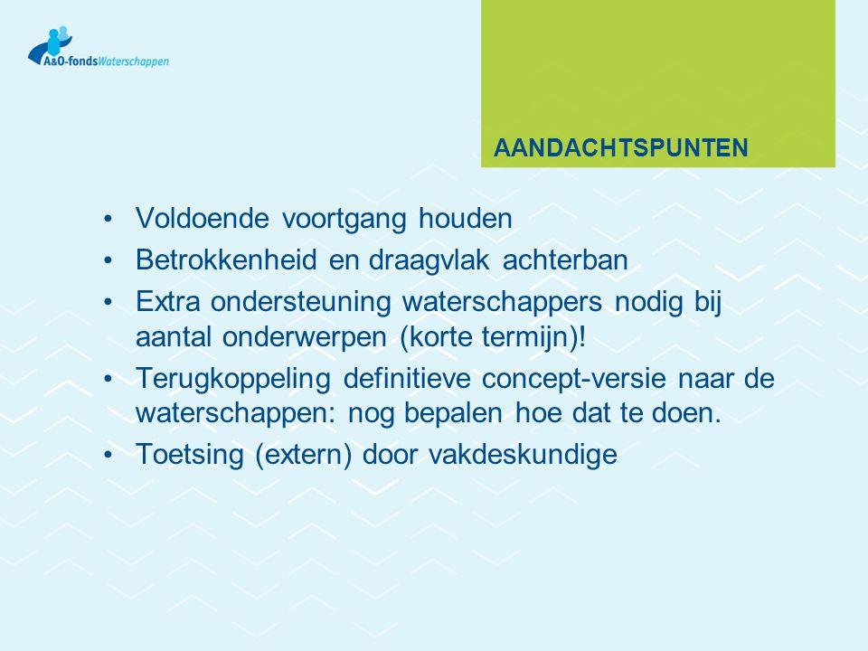 AANDACHTSPUNTEN Voldoende voortgang houden Betrokkenheid en draagvlak achterban Extra ondersteuning waterschappers nodig bij aantal onderwerpen (korte